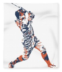 George Springer Houston Astros Pixel Art 11 Fleece Blanket
