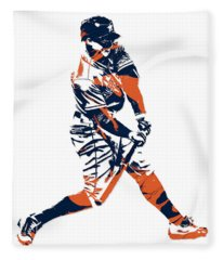 George Springer Houston Astros Pixel Art 3 Fleece Blanket