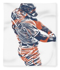 George Springer Houston Astros Pixel Art 33 Fleece Blanket
