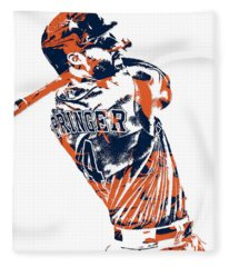 George Springer Houston Astros Pixel Art 4 Fleece Blanket