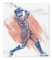 George Springer Houston Astros Water Color Art 1 Fleece Blanket