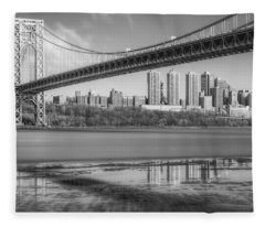 George Washington Bridge Nyc Reflections Bw Fleece Blanket