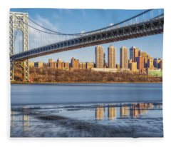 George Washington Bridge Nyc Reflections Fleece Blanket