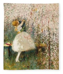 Georges Picard French 1857 1946 Romance Under The Blossom Tree Fleece Blanket
