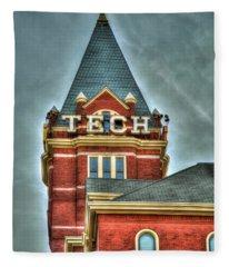 Georgia Tech Tower 8 Georgia Institute Of Technology Art Fleece Blanket