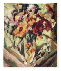 Gerberas In Glass Vase Fleece Blanket