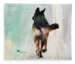 German Shepherd Taking A Walk Fleece Blanket