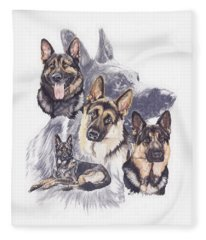 Fleece Blanket featuring the mixed media German Shepherd Medley by Barbara Keith