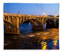 Gervais Street Bridge At Twilight Fleece Blanket