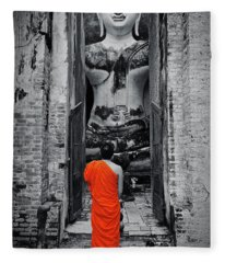 Getting Lucky At Wat Sri Chum In Sukhothai, Thailand, Southeast Asia Fleece Blanket