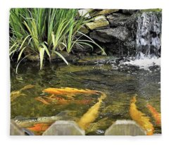 Looking Pretty - Koi At Farmer Girl Fleece Blanket