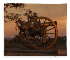 Gettysburg - Cannon With Cannon Balls At Sunrise Fleece Blanket