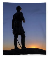 Gettysburg - Gen. Warren At Sunset Fleece Blanket