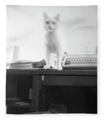 Ghost Cat, With Typewriter Fleece Blanket