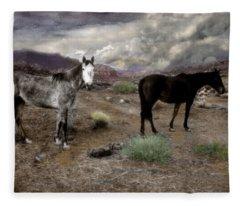Ghost Horses On A High Plain Fleece Blanket