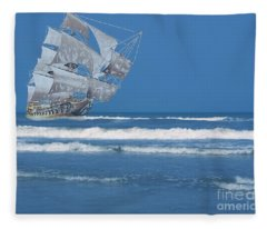 Ghost Ship On The Treasure Coast Fleece Blanket