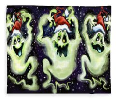 Ghostly Christmas Trio Fleece Blanket