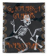Ghoulish Guests Welcome Fleece Blanket
