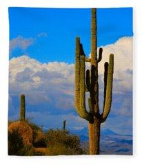 Giant Saguaro In The Southwest Desert  Fleece Blanket