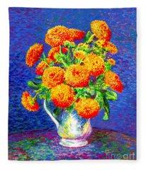 Gift Of Gold, Orange Flowers Fleece Blanket