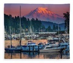 Gig Harbor Dusk Fleece Blanket