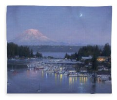Gig Harbor Evening Reflections Fleece Blanket