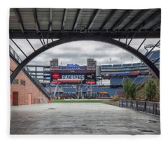 Gillette Stadium And The Four Super Bowl Banners Fleece Blanket