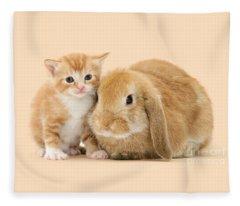 Ginger Kitten And Sandy Bunny Fleece Blanket