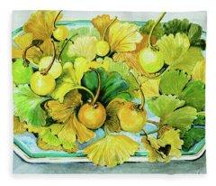 Ginkgo, Fruit And Leaves Fleece Blanket