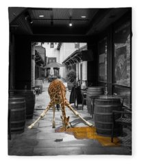 Giraffe Drinking Whiskey Series 4987y Fleece Blanket