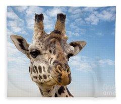 Giraffe In The Masai Mara Fleece Blanket