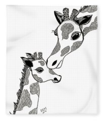 Giraffe Mom And Baby Fleece Blanket