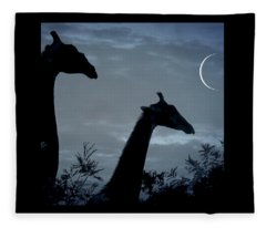 Giraffe Moon  Fleece Blanket