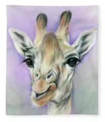 Giraffe With Beautiful Eyes Fleece Blanket