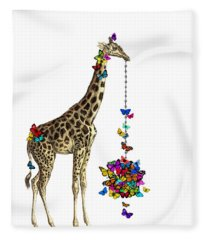 Giraffe With Colorful Rainbow Butterflies Fleece Blanket