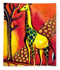 Giraffe With Fire  Fleece Blanket