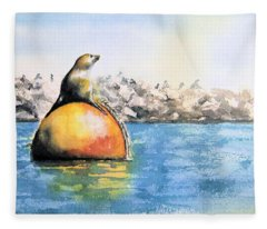 Girl And Buoy Fleece Blanket