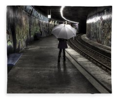 Girl At Subway Station Fleece Blanket