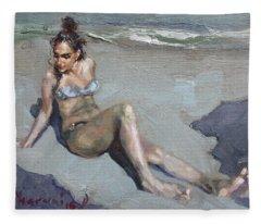 Girl At The Beach  Fleece Blanket