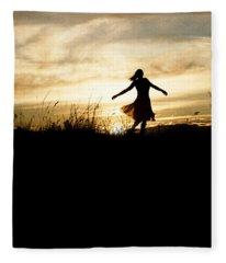 Girl Dancing In Sunset Fleece Blanket