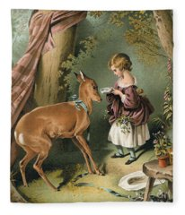 Girl Feeding A Deer Fleece Blanket