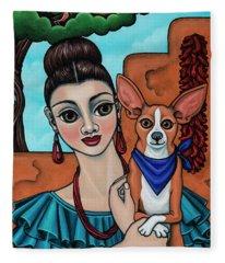 Girl Holding Chihuahua Art Dog Painting  Fleece Blanket