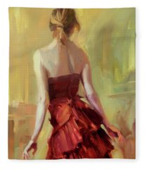 Girl In A Copper Dress I Fleece Blanket