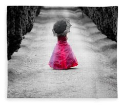 Girl In A Red Dress Fleece Blanket