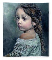 Girl In Lace Fleece Blanket
