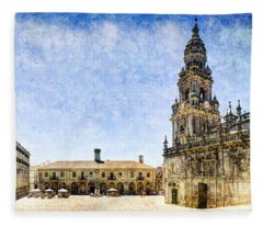 Girl In Santiago - Vintage Version Fleece Blanket