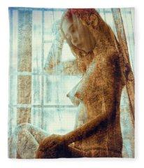 Girl In The Window Fleece Blanket