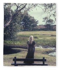 Girl On Bench Fleece Blanket