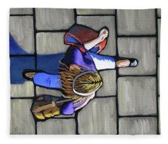 Girl Overhead Walking Fleece Blanket
