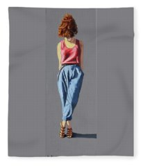 Girl Standing Fleece Blanket